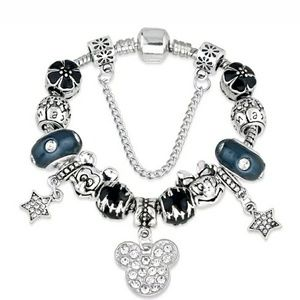 Black and Silver Mickey and Minnie Charm Bracelet